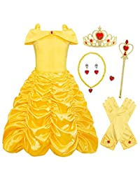 AmzBarley Belle Costume Girls Dress Princess Layered Party Outfits Cosplay 3-12 Years