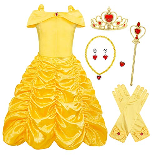 5 Matching Halloween Costumes - Cotrio Little Girls Layered Princess Belle