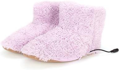 Men Women Interface Hiding Electric Foot Warmer Plush USB Charger Heating Shoes