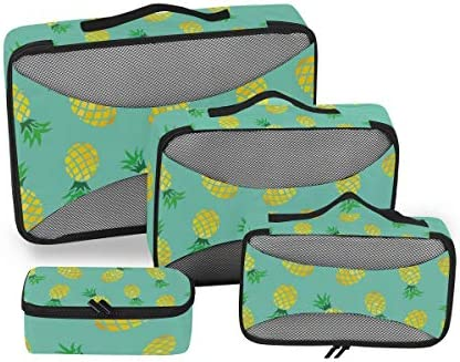 夏のアートパイナップル荷物パッキングキューブオーガナイザートイレタリーランドリーストレージバッグポーチパックキューブ4さまざまなサイズセットトラベルキッズレディース