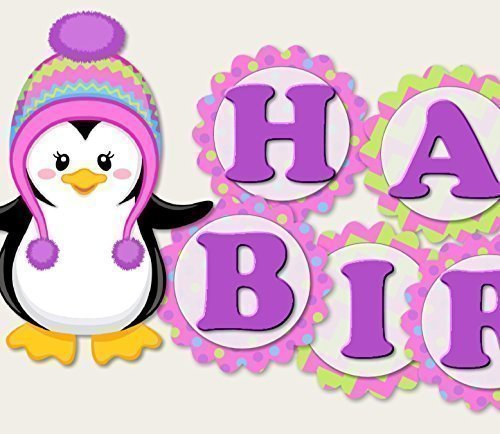 Penguin Birthday Banner Party Decorations Supplies for Girl -