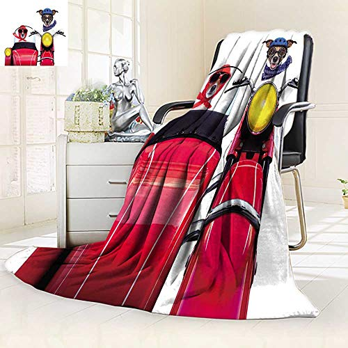 YOYI-HOME Lightweight Summer Duplex Printed Blanket,Motorbike Dogs Together in Love Having a Holiday Trip Bed,Sofa, Air-Conditioner Room/59 W by 39.5