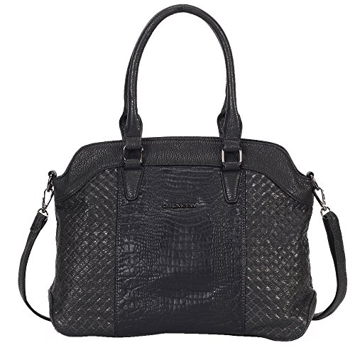 Heritage Shoulder Tote (Hynes Victory Heritage Women Handbag Crocodile Pattern Satchel Tote Purse for Work Black)