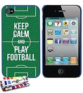 Carcasa Rigida Ultra-Slim APPLE IPHONE 4 / IPHONE 4S de exclusivo motivo [Keep Calm And Play Football] [Azul] de MUZZANO  + ESTILETE y PAÑO MUZZANO REGALADOS - La Protección Antigolpes ULTIMA, ELEGANTE Y DURADERA para su APPLE IPHONE 4 / IPHONE 4S