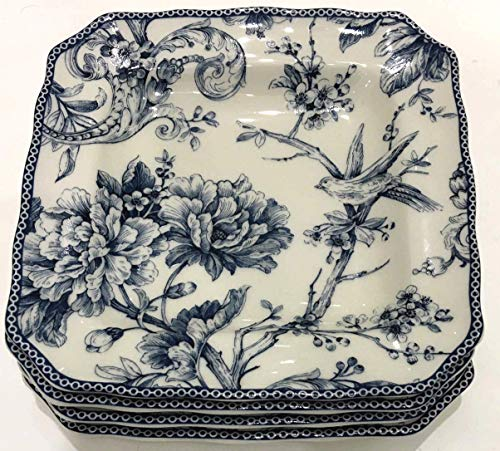 222 Fifth Adelaide Blue Toile Square Salad Plates | Set of 4 | 8.5