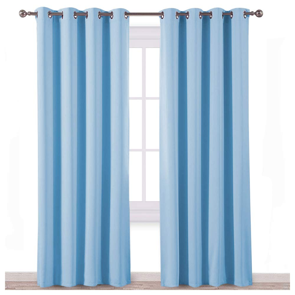 NICETOWN Sky Blue Blackout Curtains - Home Décor Window Treatment Ring Top Blackout Draperies Curtains for Living Room (2 Panels, 52 by 84, Blue)