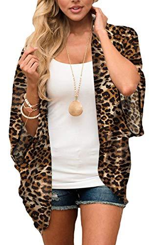 Dark Brown Leopard - Hibluco Women's Floral Kimono Cardigan Long Blouse Sheer Shirt Loose Tops Swimwear Brown Leopard