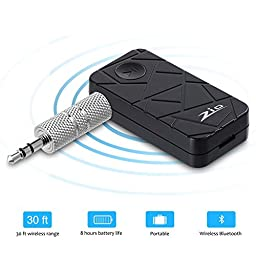 Zio Mini Wireless Bluetooth 4.1 Stereo Audio Music Receiver with Adapter and Audio Cable for iPhone 6, 6 Plus, 5, 5C, 5S, 4S, iPad, LG G2, Samsung Galaxy S5, S4, S3, Note 3, iPod, MP3, Audio Devices