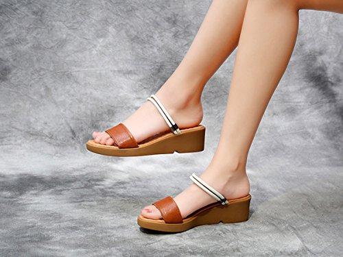 y de Chancletas Marrón de de Marrón Mujer DANDANJIE de cuña Tacones Sandalias Verde aderezo Zapatos Confort Dos métodos caseros para Sandalias Verano gEqO5wz