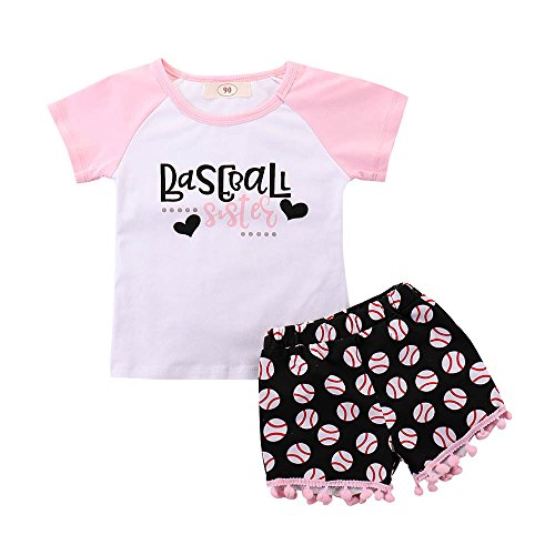 Kehen Little Girl Summer Clothes, Baseball Sister T-Shirt with Tassel Shorts Casual Outfit for Kid Toddler Baby Girl (Pink,4T)]()