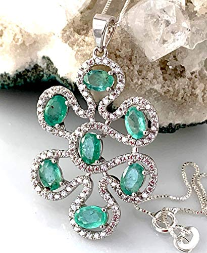Genuine EMERALD (7 Gems) from Brazil and WHITE TOPAZ Natural Gemstones, 14k White GOLD and 925 Sterling Silver, Splendid Pendant with Solid Sterling Silver Chain Fine Jewelry * 55th Anniversary Gift.