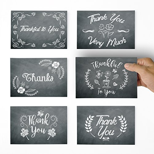 Thank You Cards - 36 Chalkboard Thank You Notes for Your Wedding, Baby Shower, Business, Anniversary, Bridal Shower - Chalkboard Flowers Thank You Cards with Envelopes - Blank Inside