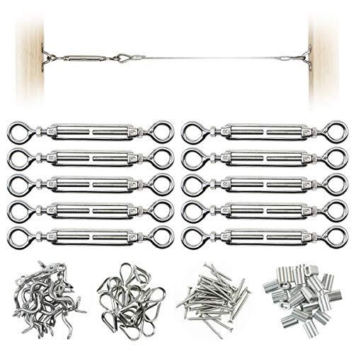 Muzata 10 Pack Heavy Duty Stainless Steel Cable Railing Kits For 1/8