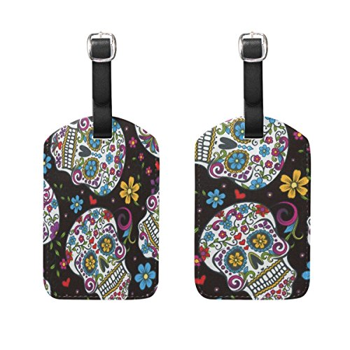 HangWang Luggage Tags Skulls Womens Bag Suitcase Tags Holder Traveling Accessories 2 Piece ()