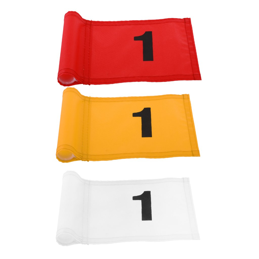 MagiDeal 3 Pieces Durable Nylon Golf Flag Golf Practice Putting Green Flag Golf Target Marker with Number 1