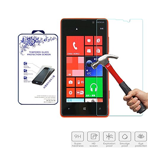 Nacodex Microsoft Nokia Lumia 820 Tempered Glass Front LCD Screen Protector Film 9h Hardness, 2.5d Rounded Edges, 0.3mm Thickness [1 Pack] (For Microsoft Nokia Lumia 820)