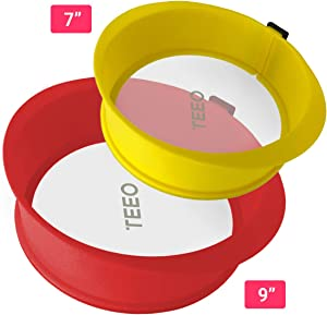 "[2-PACK] Silicone Springform Non-Stick Baking Pan, Removable Ring & Tempered Glass Bottom, Leak-Proof, 100% Food Grade, BPA-Free, Non-Toxic Cheesecake Bakeware/Round Cake Pie Pan-7"" Yellow & 9"" Red"