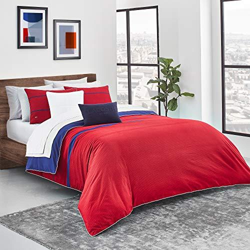 Sunham Home Fashions - Lacoste Pasaka Duvet Set, King, Red