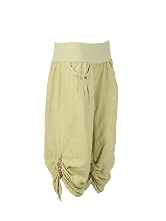 c659687f1ce New Ladies Italian Linen Crop Trouser women Summer Trouser Plus Sizes (Lime  Green)  Amazon.co.uk  Clothing