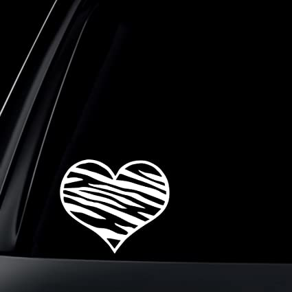 Zebra print heart car decal sticker 5