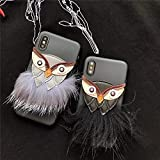 MARCU HOME Iphone8 mobile phone shell 7plus models fur soft shell beard owl apple 7 all-inclusive 5S protective sleeve X silicone (Color : 2-iphone x)