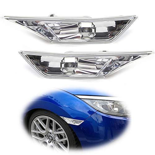 iJDMTOY JDM Clear Lens Front Side Marker Light Lens Housings For 2016-up Honda Civic Sedan/Coupe/Hatchback, Replace OEM Amber Sidemarker Lamps