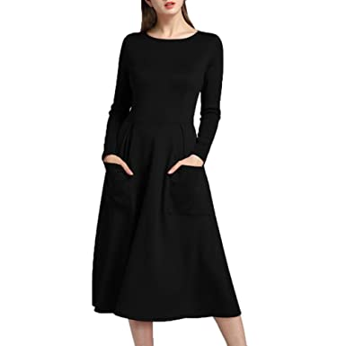 HOMEBABY Women Long Sleeve Dress Casual Dress Ladies Evening Party Maxi Dress Classic Zipper Pocket Dresses
