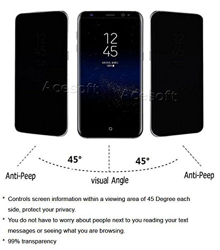 Premium 3D Curved Anti-Scratch Wear-Resisting Shockproof Privacy Anti-Peep Tempered Glass Screen Protector Guard Shield Saver Armor Cover for Samsung Galaxy S8 SM-G950U Android phone by SodaPop (Image #1)