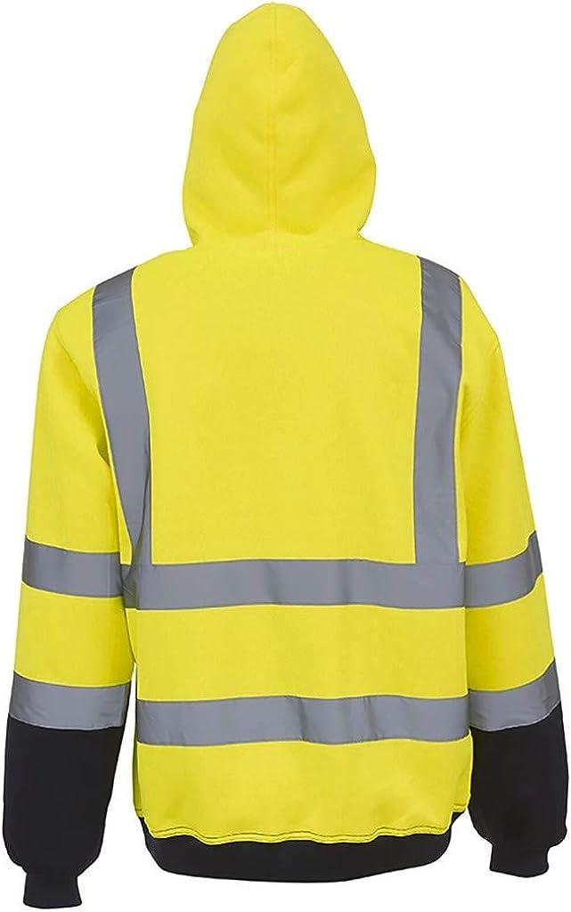 JAMZER Hot Sale Mens High Visibility Hoodie Safety Pullover Hi Vis Hood Sweatshirt Relective Road Security Work Wear