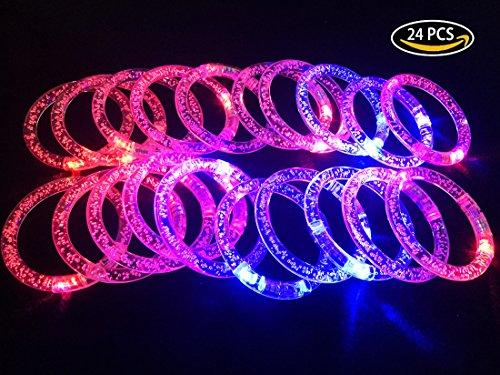 Fun Transparent 2 Color Changing LED Fluorescent Bubble Design Bracelet Set of 24 Pieces For Gift Decoration Halloween Christmas Parties Concert Bars Dance Hall (Led Bracelet Concert)