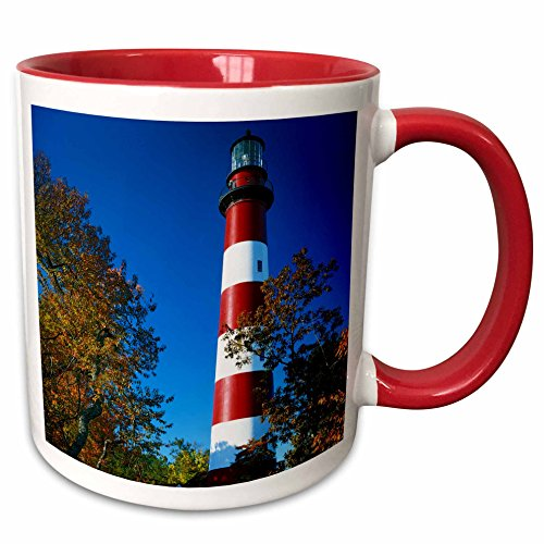 3dRose 189803_5 USA Virginia Island Assateague Lighthouse Two Tone Mug, 11 oz, Red