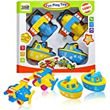 Best Toddler Toys for Boys & Girls Age 2 Year Old and up - Boat and Airplane Toys - Popular Gifts Play Set of 4 Toy Vehicles for Kids from 3 Bees & Me