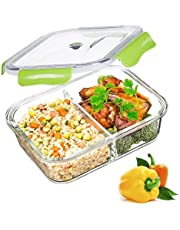 PREMIUM QUALITY 1040 ML 2 Compartment Glass Food Storage Containers - Meal Prep Containers - Reusable Microwave ,Oven, Freezer & Dishwasher Safe BPA Free Lunch Containers with Smart For Snap Locking Tritan Lid Guarantee 100% Airtight Leak proof (GREEN)