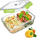 PREMIUM QUALITY Tritan 1040 ML 2 Compartment Glass Lunch box/Food Storage Containers - Meal Prep Glass Containers - Reusable Microwave ,Oven, Freezer & Dishwasher Safe BPA Free Lunch Containers with Smart For Snap Locking Tritan Lid Guarantee 100% Airtight Leakproof (GREEN)