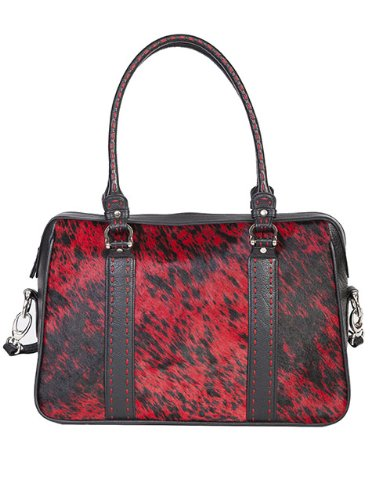 Scully Leather Western Hair on Calf Red Black Handbag Purse - B113slrw