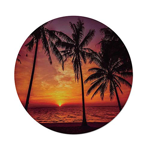 iPrint Polyester Round Tablecloth,Tropical Decor,Sunset Tropical Beach Palm Trees Peaceful Ocean Evening View Resort,Dining Room Kitchen Picnic Table Cloth Cover,for Outdoor Indoor