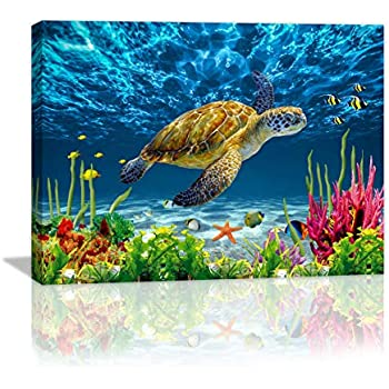 Bathroom Wall Decor Blue Ocean Sea Turtle Wall Art Poster Artwork For Home Decor 1 Panel Canvas Prints Picture Seaview Bottom View Beneath Bathroom Decor Sea turtle Canvas Painting Size:12