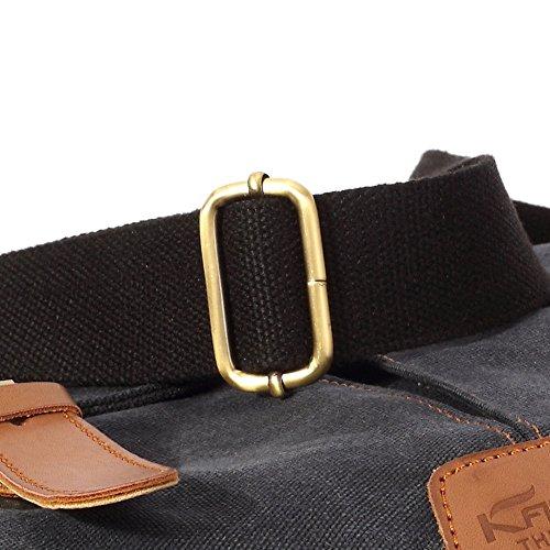 Vintage Men Messenger Bag, Kaukko Canvas Crossbody Shoulder Bags Laptop Briefcase Black by KAUKKO (Image #8)