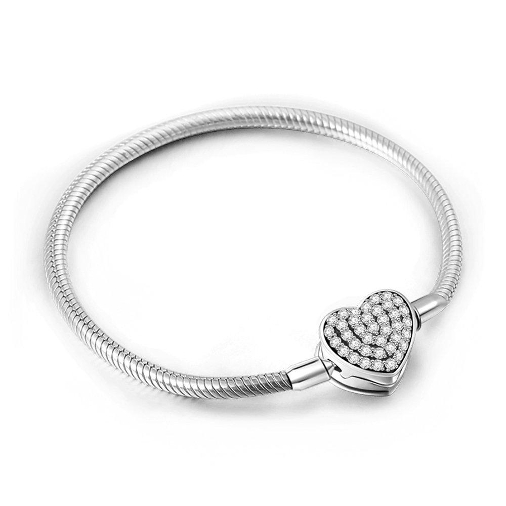 Soufeel Armband mit Blumen Kristall Schnalle für Damen Charms Beads Anhänger 925 Sterling Silber Armband in 16-23cm