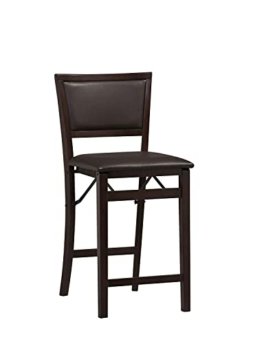 Linon Home Decor Keira Pad Back Folding Counter Stool, 24-Inch Espresso.2 Pack
