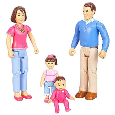 You & Me, Happy Family, Family Action Figure Set [Dad, Mom, Daughter, and Baby] Brown Hair from Youme