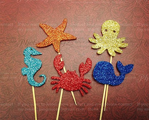 Astra Gourmet Set of 10 Sea life Glitter Cupcake Toppers/Cake Toppers/Food Picks- Sea Creatures(Sea horse/starfish/octopus/crab/whale) (Sea Glass Candy)