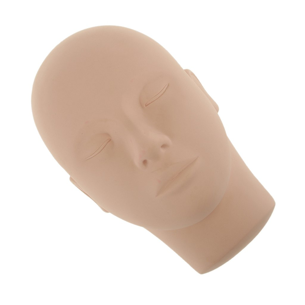 Closed Eyes Silicone Mannequin Training Head Aid for Eyelash Extension Practice Nude Generic