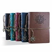 Zhi Jin Vintage Pirate Leather Refillable Notebook Journal Binder Diary Loose Pocket Kraft Blank Paper Red