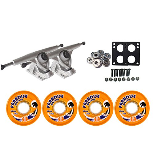 Longboard Skateboard Trucks Raw Randal 42° 180 Combo Set 65mm Bigfoot Islander Wheels, Bearings, and Hardware Package (65mm Orange Wheels) (Longboard Truck Skateboard Randal)