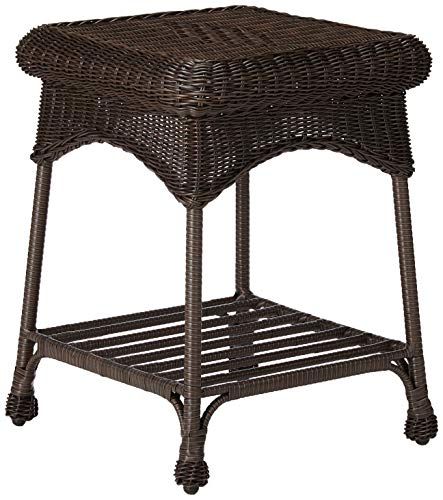 Outdoor Espresso Wicker Patio Furniture End Table (Resin Footstool White Wicker)