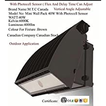 LED Wall Pack 6000K CETL Certified For Outdoor Use Waterproof IP65 nput Voltage 100-277V , Inbuilt PhotoCell Sensor Flux And Delay Time Can Adjust Canadian Company Canadian Stock (Mini, 40Watt Brown)