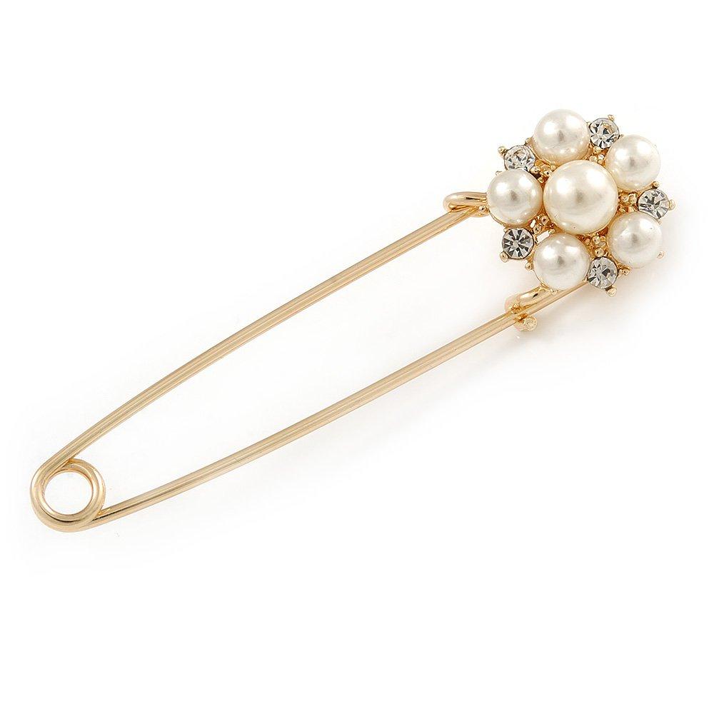 Avalaya Broche///Épingle /à nourrice plaqu/é or avec fausse perle fleur en cristal/ /75/mm