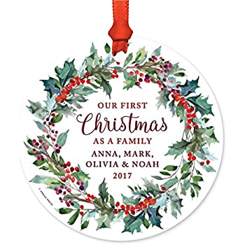 Andaz Press Personalized Blended Family Metal Christmas Ornament, Our First  Christmas as a Family, - Amazon.com: Andaz Press Personalized Blended Family Metal Christmas