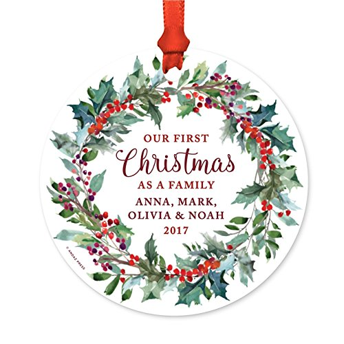 ized Blended Family Metal Christmas Ornament, Our First Christmas as a Family, Anna, Mark, Olivia & Noah 2018 Red Holiday Wreath, 1-Pack, Includes Ribbon and Gift Bag, Custom Name ()